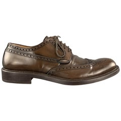 Men's BARNEY'S NEW YORK Size 9 Brown Leather Wingtip Lace Up Brogues