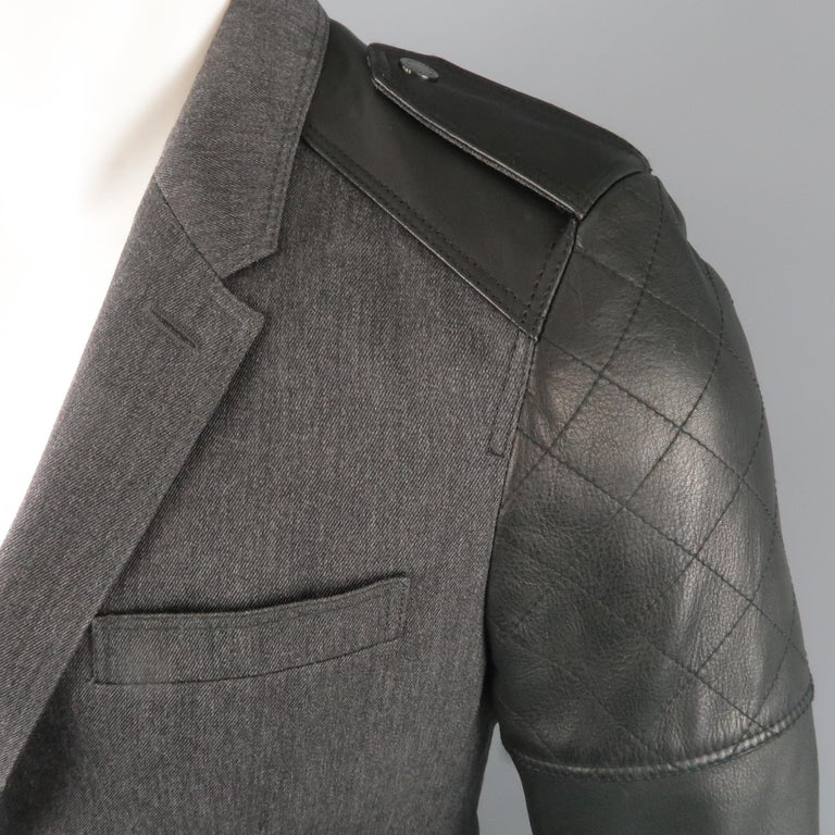 Men's BELSTAFF S Grey Wool & Black Leather Biker Sleeve Jacket In New Condition For Sale In San Francisco, CA