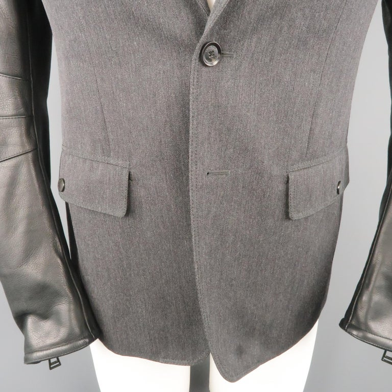Men's BELSTAFF S Grey Wool & Black Leather Biker Sleeve Jacket For Sale 1