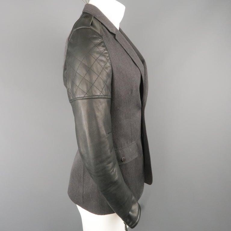 Men's BELSTAFF S Grey Wool & Black Leather Biker Sleeve Jacket For Sale 2