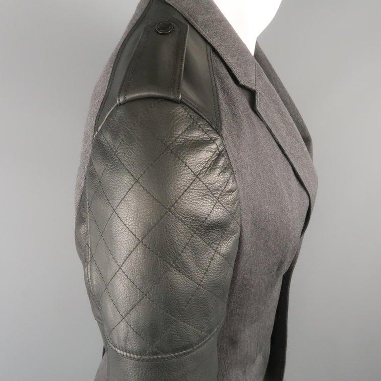 Men's BELSTAFF S Grey Wool & Black Leather Biker Sleeve Jacket For Sale 3