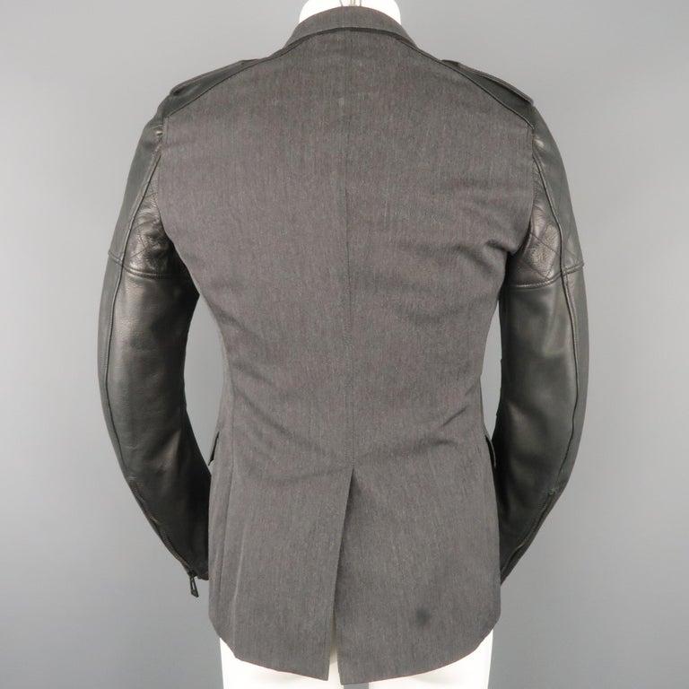 Men's BELSTAFF S Grey Wool & Black Leather Biker Sleeve Jacket For Sale 4