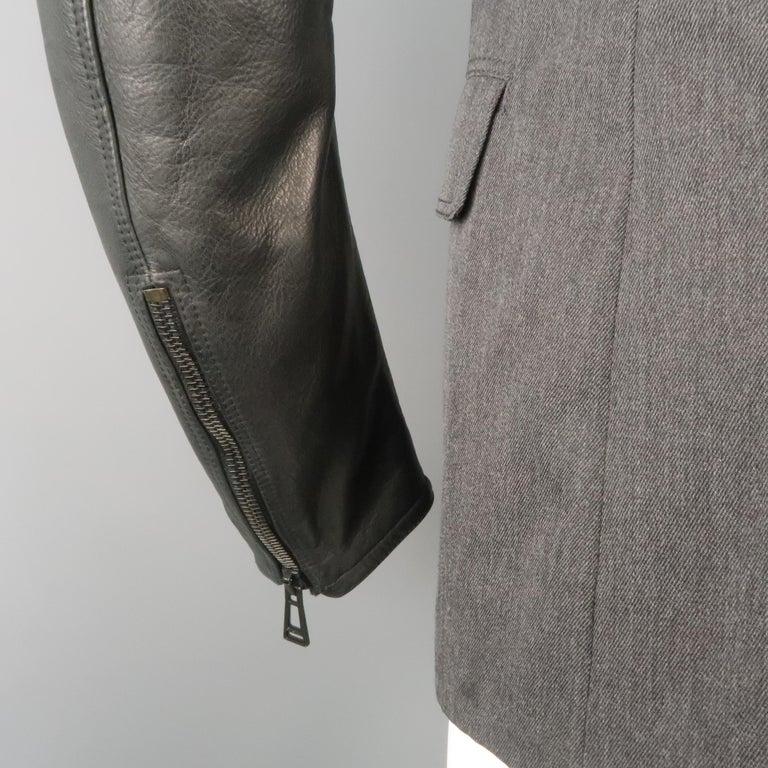Men's BELSTAFF S Grey Wool & Black Leather Biker Sleeve Jacket For Sale 5