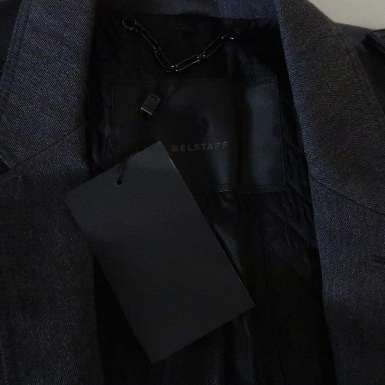 Men's BELSTAFF S Grey Wool & Black Leather Biker Sleeve Jacket For Sale 6