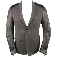 Men's BELSTAFF S Grey Wool & Black Leather Biker Sleeve Jacket