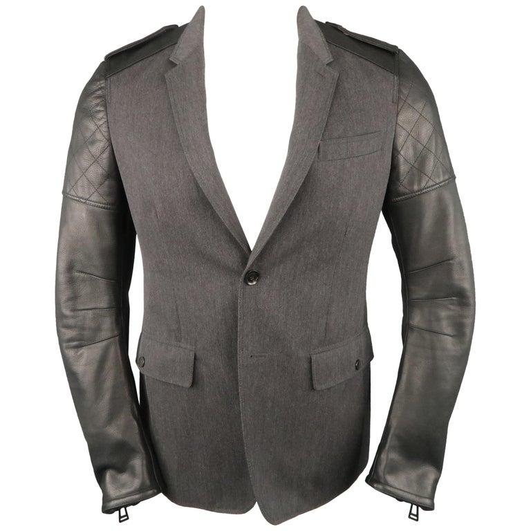 Men's BELSTAFF S Grey Wool & Black Leather Biker Sleeve Jacket For Sale