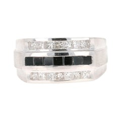Mens Black Diamond 14 Karat White Gold Ring