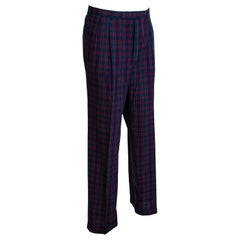 Men's Black Watch Loden, Navy & Red Plaid Trousers, Harrod's – 38-33 , 1980s
