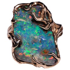 Men's Boulder Opal 14 Karat Gold Ring Art Nouveau Christmas gift Unisex jewelry