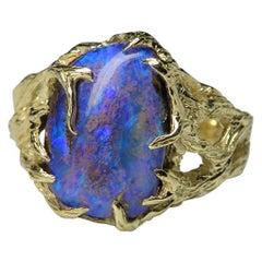 Men's Boulder Opal Yellow Gold Ring Vrubel Cornflower Blue Large Australian Gem