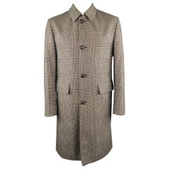Men's BRIONI 40 Black & Beige Plaid Wool Storm System Long Coat