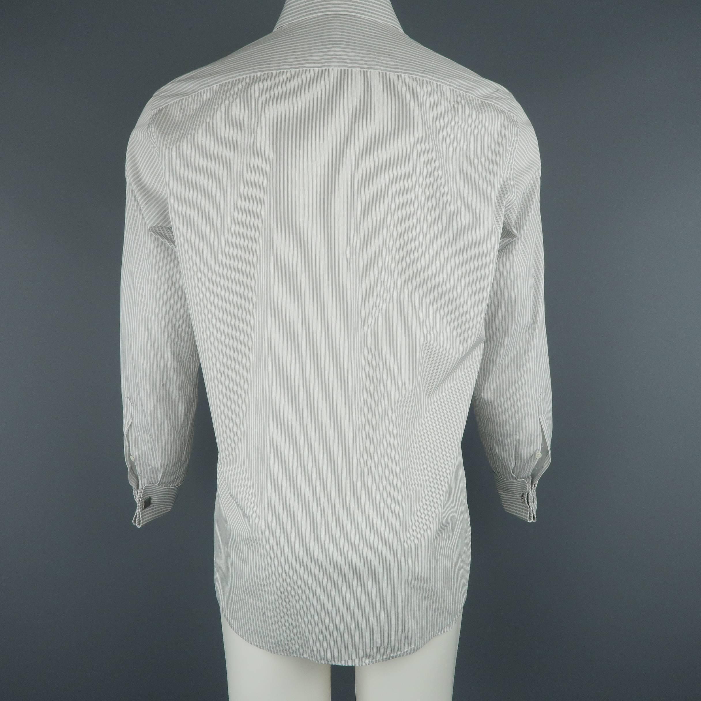 15.5 Brioni Mens Ivory Striped Shirt 39