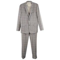 Men's BROOKS BROTHERS 38 Short Gray & Blue Plaid Wool Blend Notch Lapel Suit