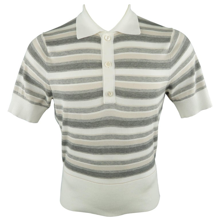 Men s BROOKS BROTHERS Size S Gray   White Stripe Cotton Knit Polo For Sale 891d21d98