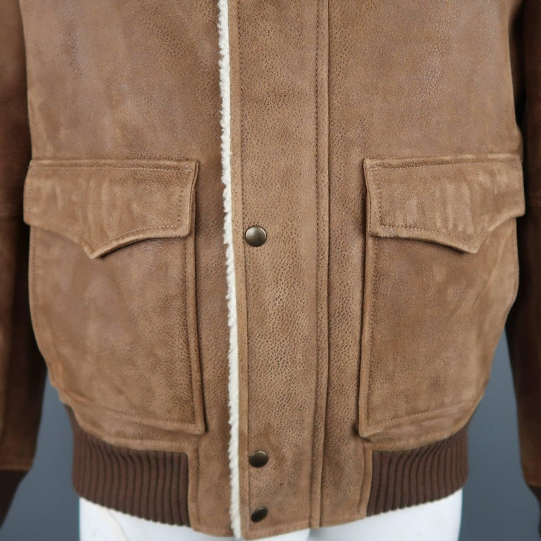 Men S Brunello Cucinelli Xl Tan Spotted Shearling Bomber Jacket At
