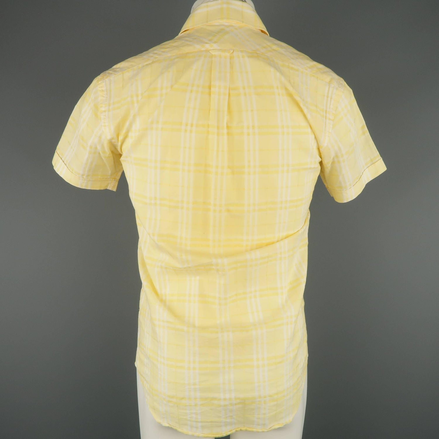 Mens Burberry London Size Xs Yellow Plaid Cotton Short Sleeve Shirt