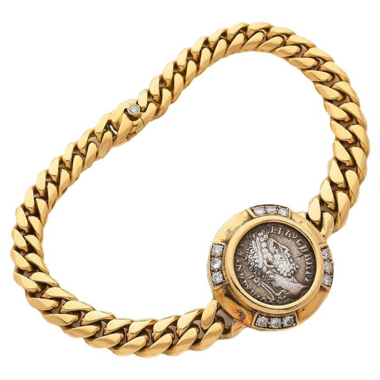 "Men's Bvlgari ""Monete"" 18K Yellow Gold Bracelet"