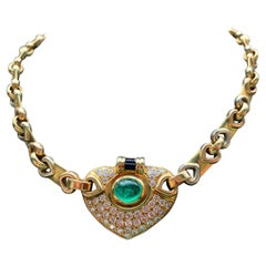 Men's Cabochon Emerald and Diamond Necklace