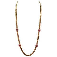 Men's Cabochon Ruby and Diamond Gold Necklace