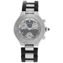 Men's Cartier 2424 Chronoscaph Steel Date Quartz Chronograph Watch
