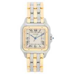 Men's Cartier 3-Row Panther 2-Tone Steel and Gold Watch W25027B8