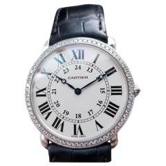 Mens Cartier Ronde Louis Hand-Wind Diamond 18k White Gold 2000s Swiss LV883