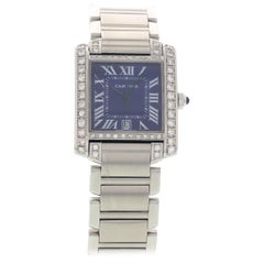 Men's Cartier Tank Francaise Automatic 2302 with Diamonds and Blue Dial
