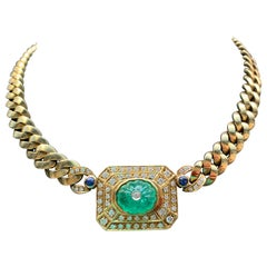 Men's Carved Emerald and Diamond Necklace