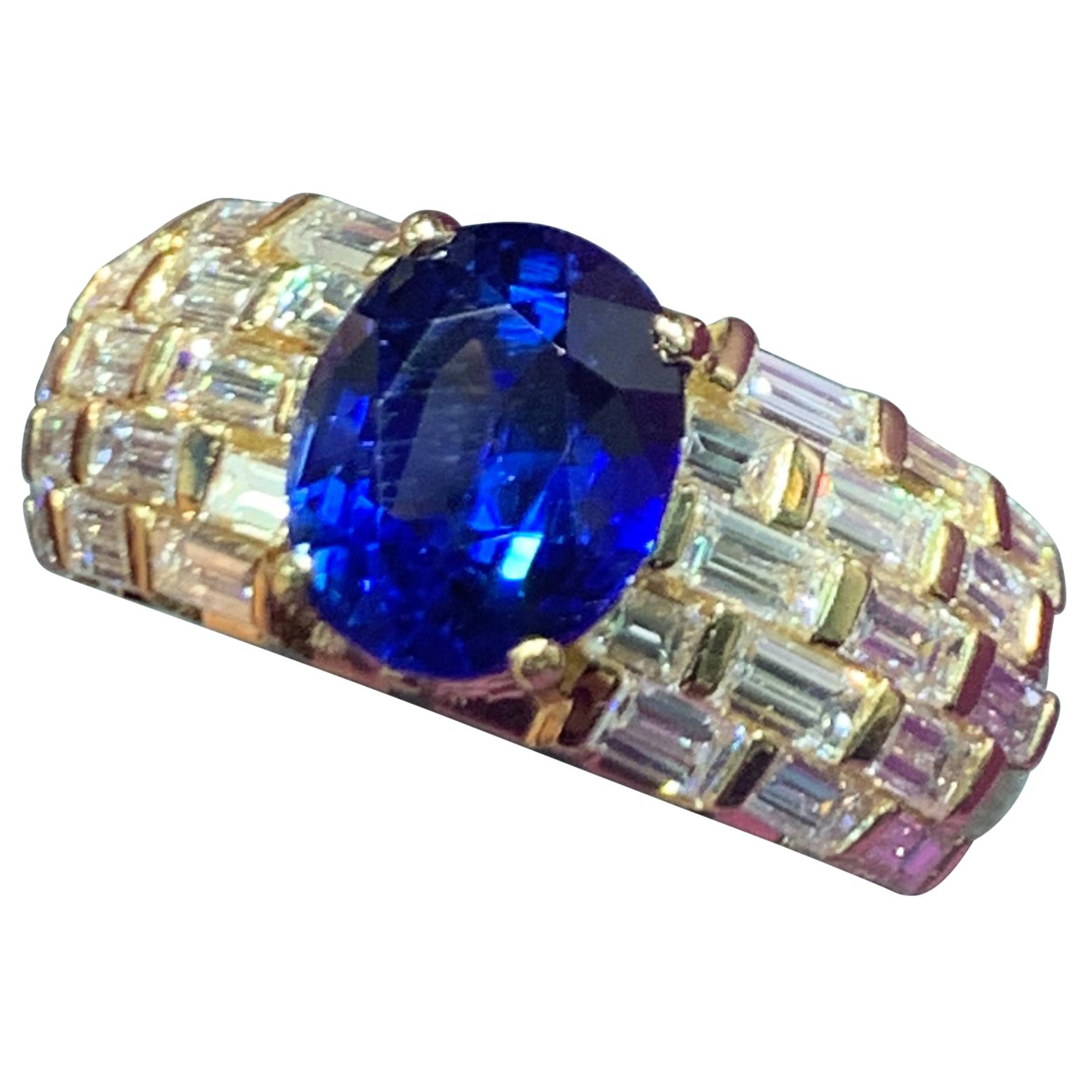 Men's Certified Sapphire and Diamond Ring