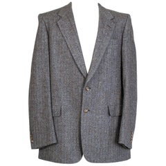 Men's Christian Dior 2-Button Gray-Blue Herringbone Sport Jacket- 42-44 L, 1970s
