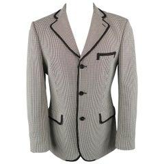 Men's CHRISTIAN LACROIX 40 Regular Black & White Houndstooth Cotton Sport Coat
