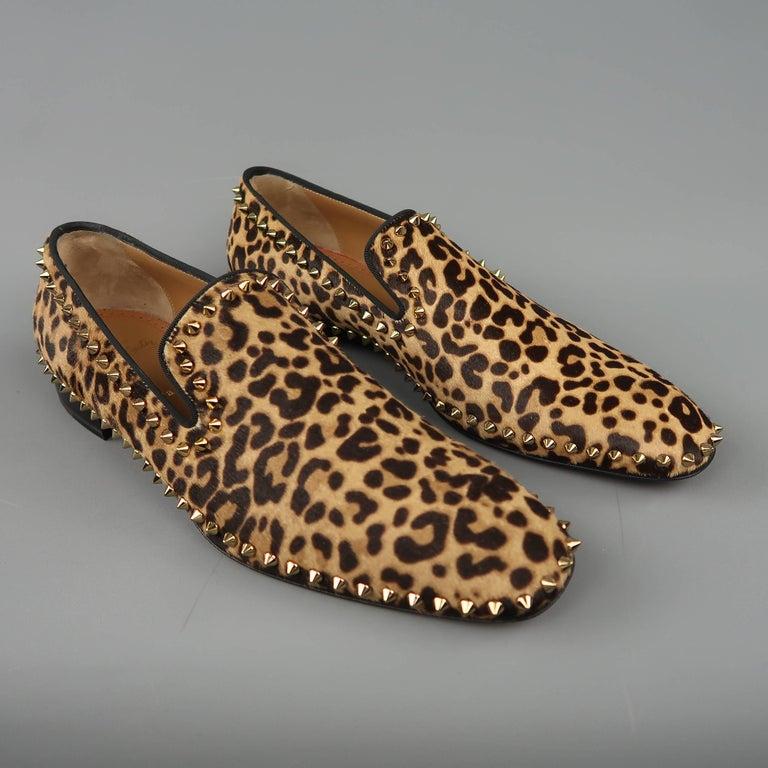 0de365212a9 CHRISTIAN LOUBOUTIN. Black Christian Louboutin Men s Leopard Print Pony  Hair Gold Spike Loafers For Sale