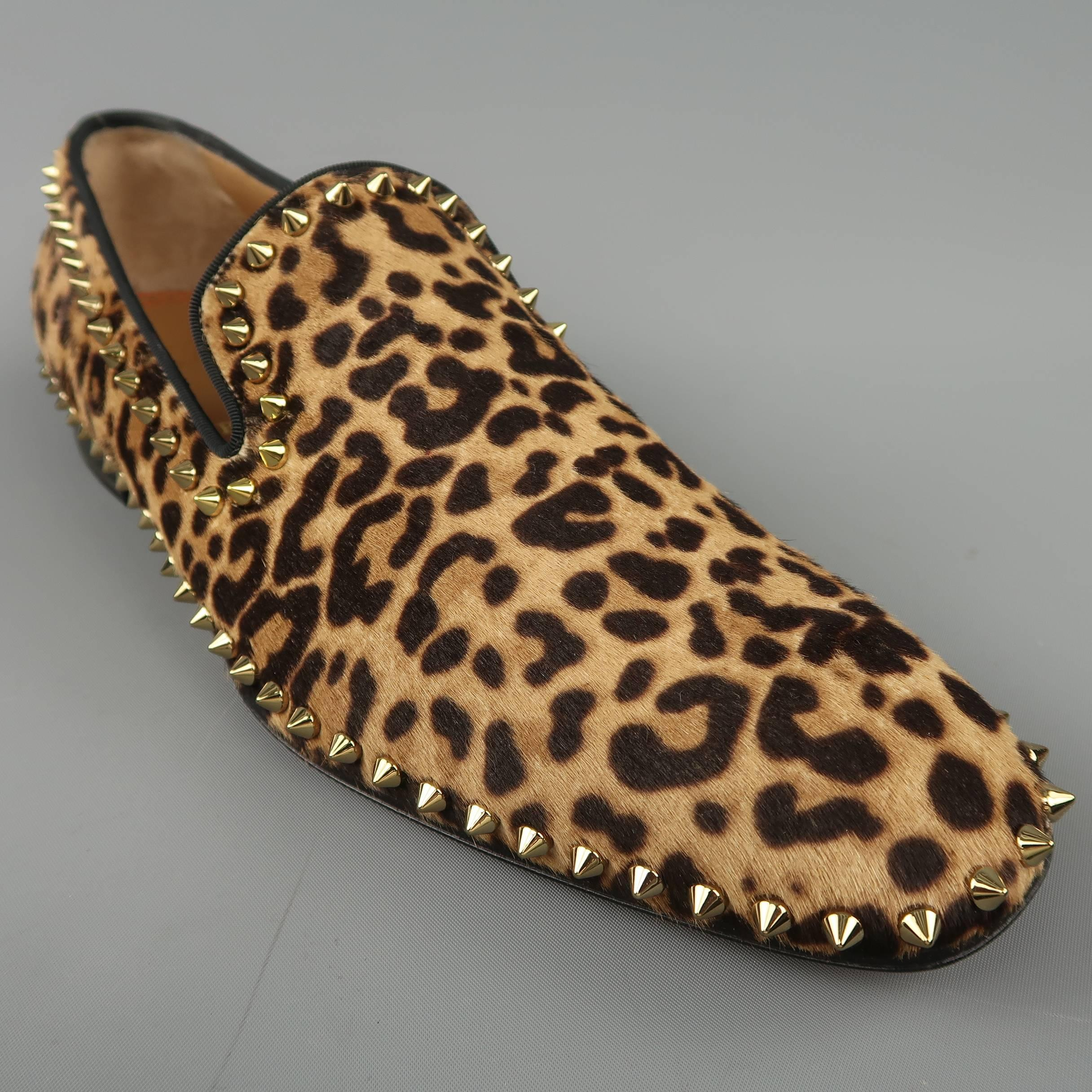 e252bf56815 Christian Louboutin Men s Leopard Print Pony Hair Gold Spike Loafers at  1stdibs
