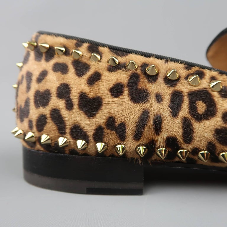 a5896b6b11f Christian Louboutin Men s Leopard Print Pony Hair Gold Spike Loafers For  Sale 3