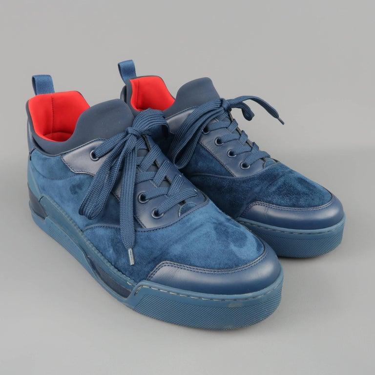 low priced 9e565 9d52e Men's CHRISTIAN LOUBOUTIN Sneakers US 10 Navy Suede & Leather AURELIEN FLAT