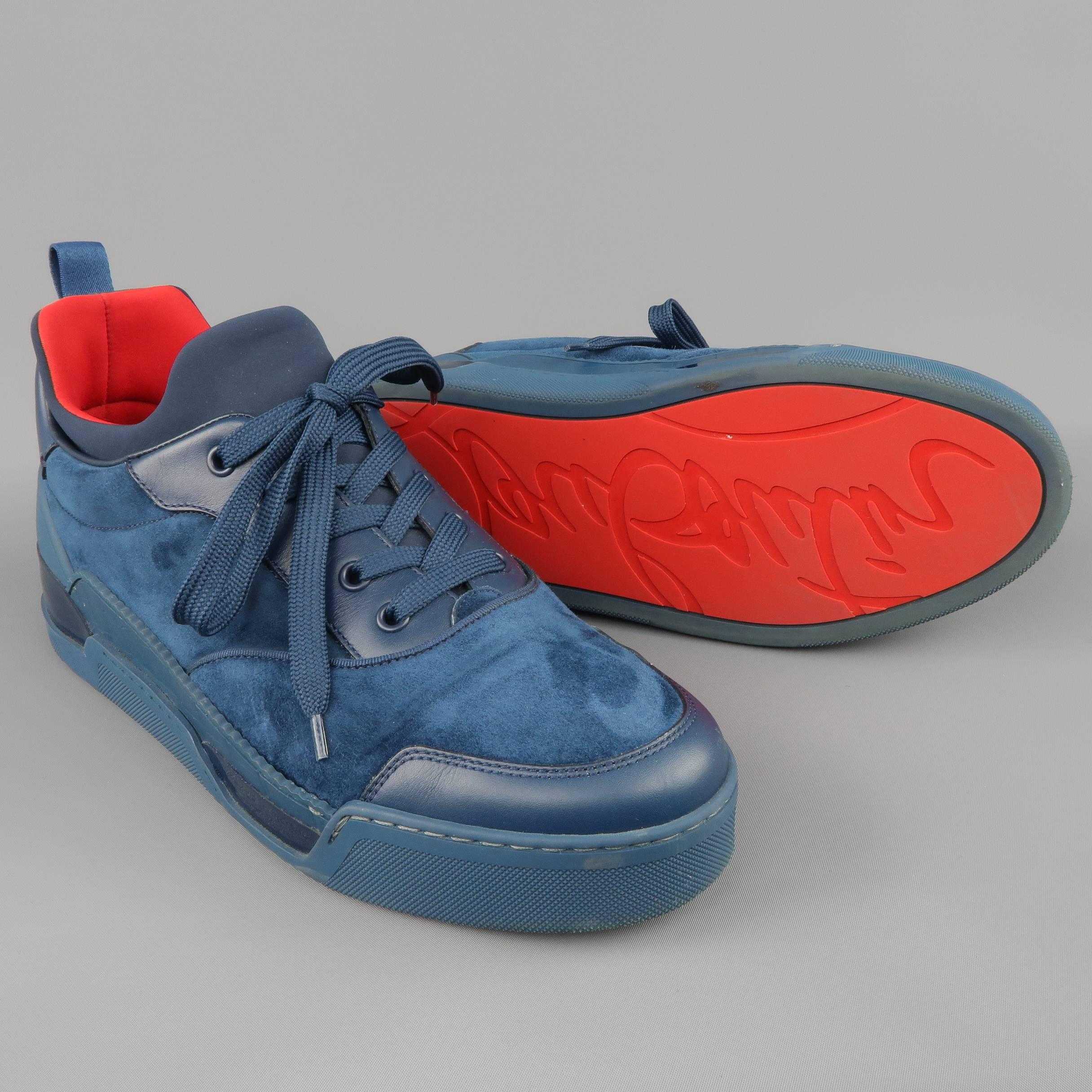 1a403361071 Men s CHRISTIAN LOUBOUTIN Sneakers US 10 Navy Suede and Leather AURELIEN  FLAT at 1stdibs