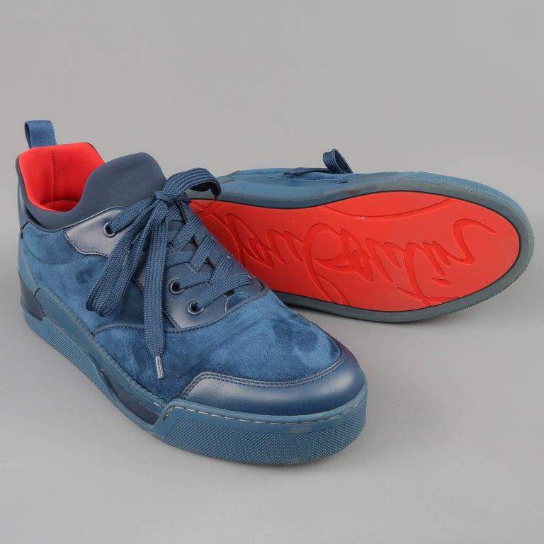 7f0f32e7018 Men's CHRISTIAN LOUBOUTIN Sneakers US 10 Navy Suede & Leather AURELIEN FLAT
