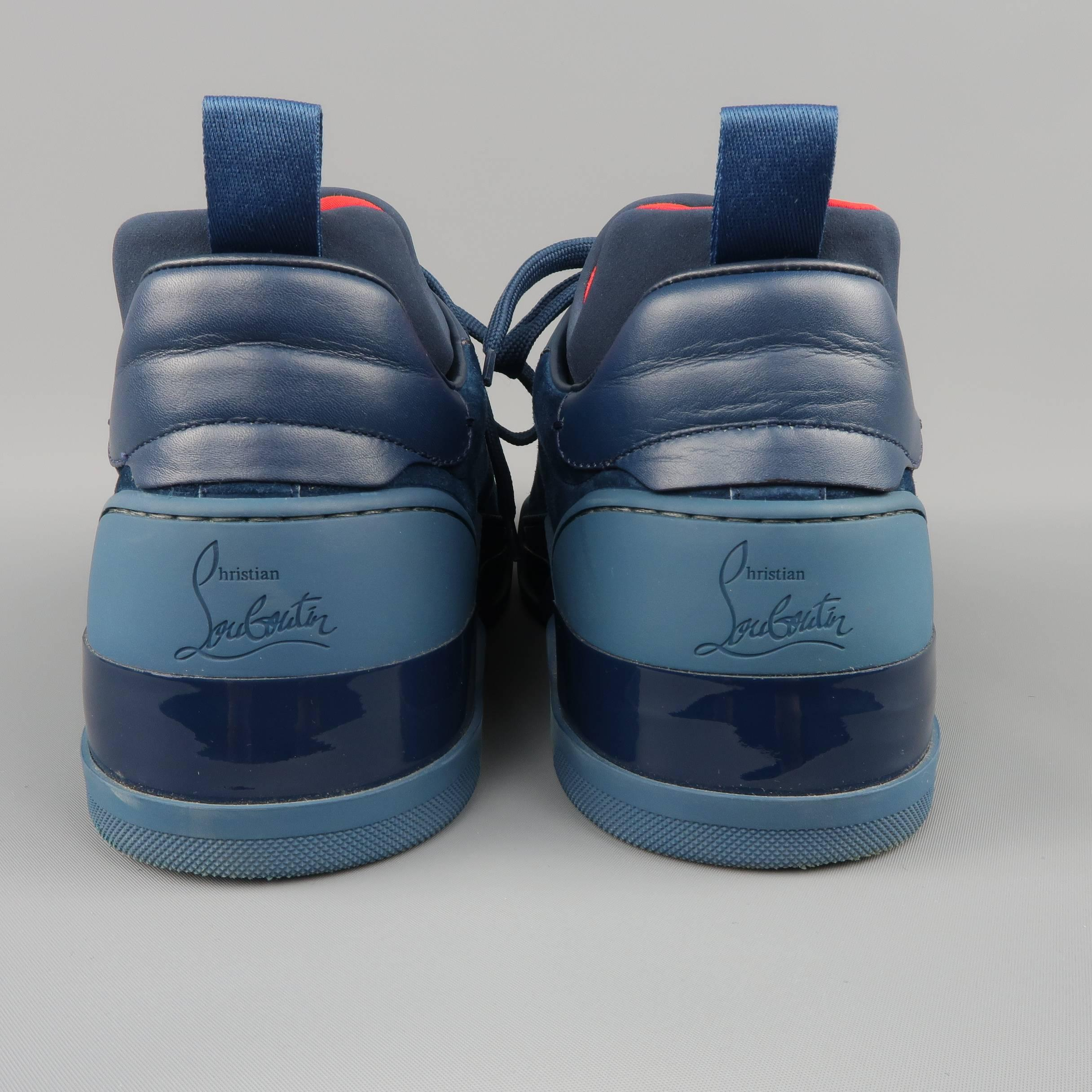 ae43a06e8513 Men s CHRISTIAN LOUBOUTIN Sneakers US 10 Navy Suede and Leather AURELIEN  FLAT at 1stdibs