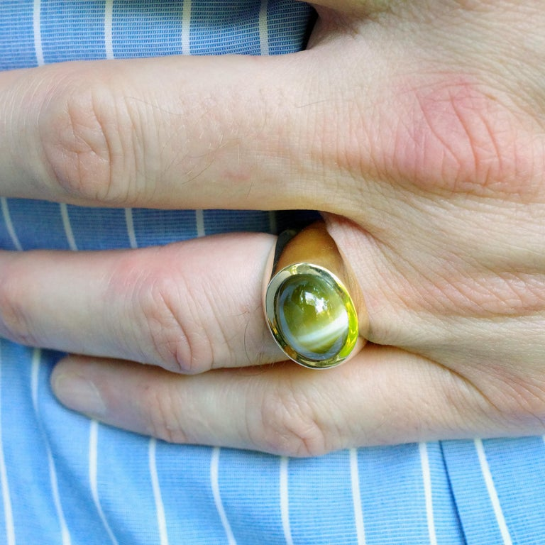 Men's Chrysoberyl Cat's Eye Ring in Gold with Ideal