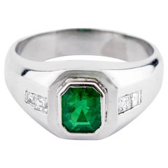 Men's Columbian Emerald Ring of Excruciatingly Fine Color Set in Platinum