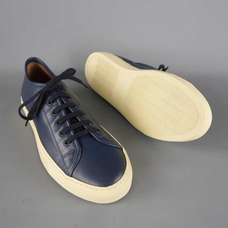 Black Men's COMMON PROJECTS Achilles Size 6 Navy Leather Sneakers For Sale