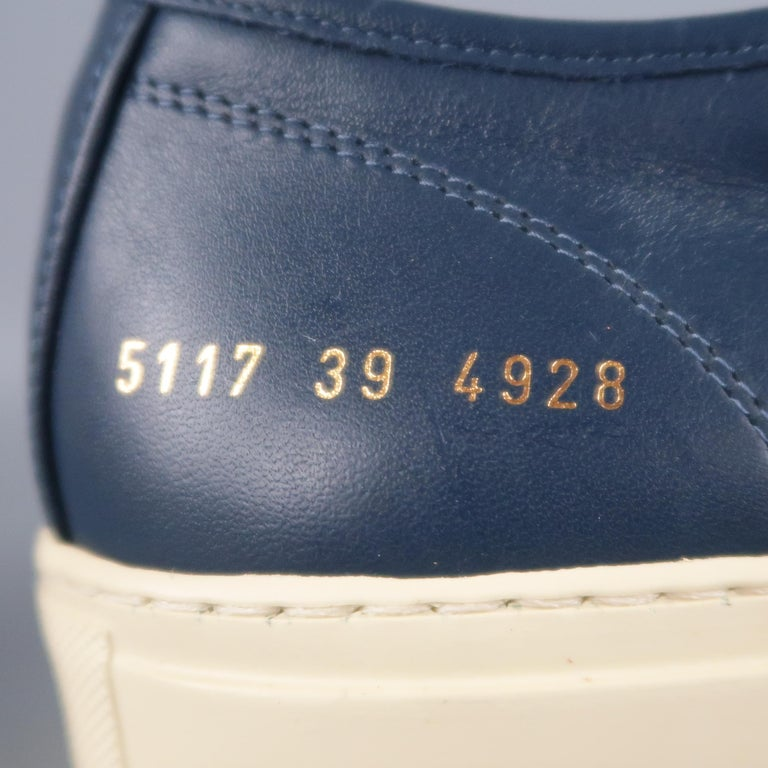 Men's COMMON PROJECTS Achilles Size 6 Navy Leather Sneakers For Sale 1
