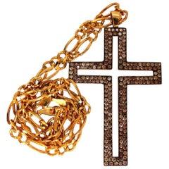 Men's Cross Necklace 4.70 Carat Natural Fancy Color Diamonds 14 Karat