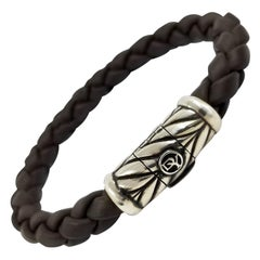 Men's David Yurman Sterling Silver and Brown Rubber Bracelet