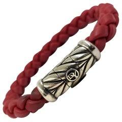 Men's David Yurman Sterling Silver and Red Rubber Bracelet
