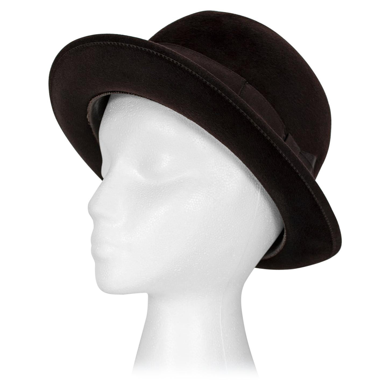 Men's Deep Brown Borsalino Diamonte 25 Fur Felt Fedora Hat – size 7, 1940s
