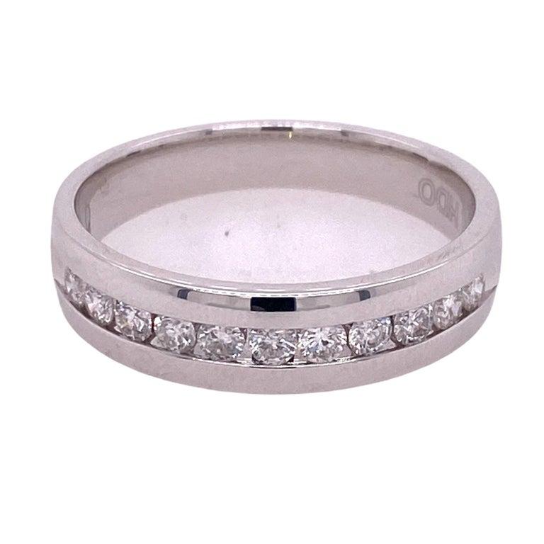 Round Cut Men's Diamond 14 Karat White Gold Channel Set Wedding Band Ring For Sale