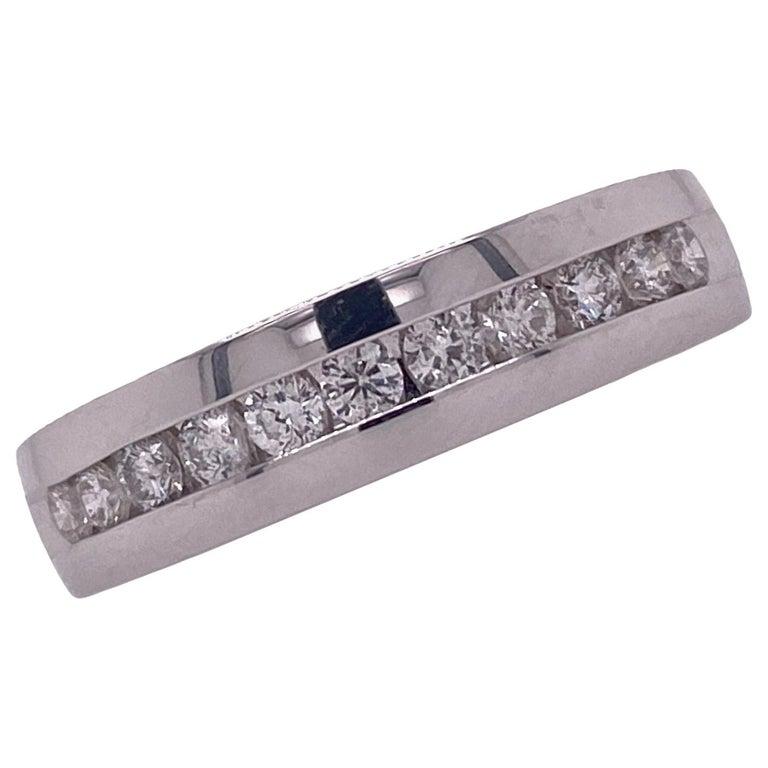 Men's Diamond 14 Karat White Gold Channel Set Wedding Band Ring For Sale