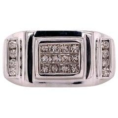 Men's Diamond 14 Karat White Gold Ring Princess Cut Round Brilliant Cut Diamonds