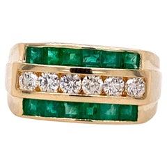 Men's Diamond and Emerald Ring